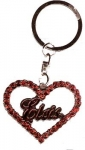 Elvis Key Chain Heart Red Stones
